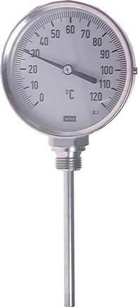 Vertical bimetallic thermometer without thermowell - industrial version, class 1.0