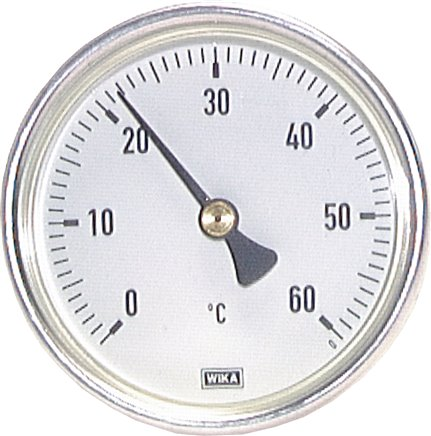 Horizontal bimetallic thermometer with aluminium housing and CU thermowell, class 2.0