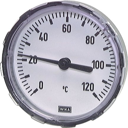 Horizontal bimetallic thermometer with plastic housing and CU thermowell, class 2.0