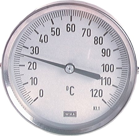 Horizontal bimetallic thermometer without thermowell, 18 mm collar, class 1.0