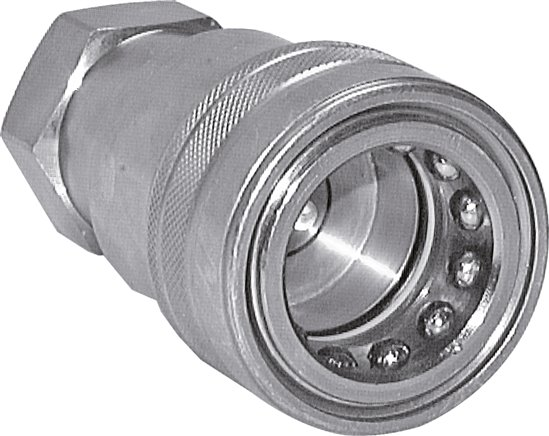 Hydraulic couplings with female threads made of steel, ISO 7241-1 B