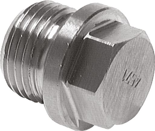 Closing plugs with outer hexagon and collar, with cylindrical thread, up to 40 bar