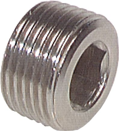 Closing plugs with inner hexagon, without collar, up to 40 bar