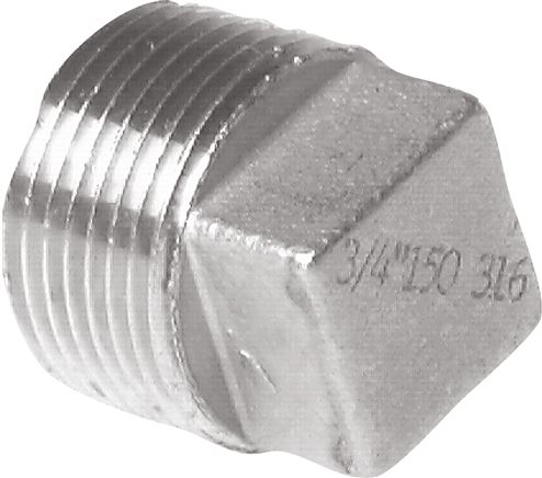 Closing plugs with exterior square and tapered thread, up to 25 bar