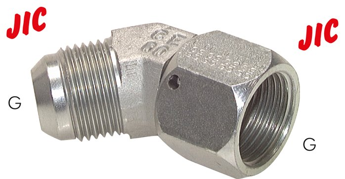45° screw-in elbow with JIC thread, up to 310 bar