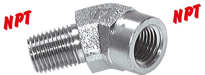 45° screw-in elbow with NPT thread, up to 275 bar