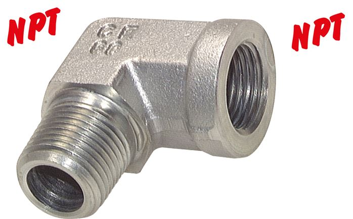 Screw-in elbow with NPT thread, up to 275 bar