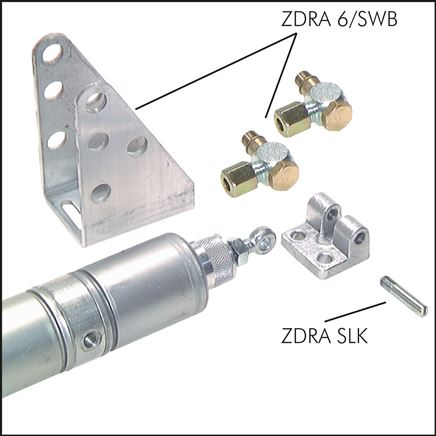 Zgleden uprizoritev: ZDRA 6/SWB (swivel mounting with elbow screw connection M 8), ZDRA SLK (piston rod hinge)