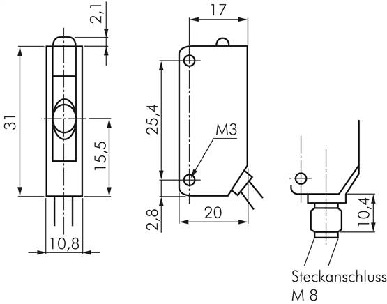 Omron Diffuse-reflective photoelectric sensor (no reflector necessary) on