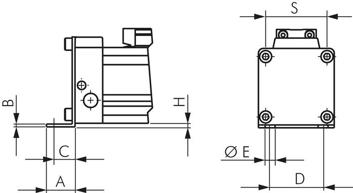 Foot mountings for rodless cylinders