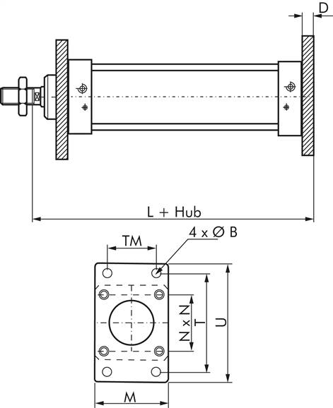 Flange fastening front or back, for pneumatic cylinders ISO 15552